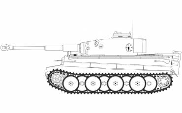 A1354 tiger-i- early-version line-art